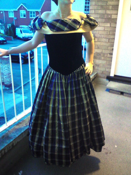 tartan and velvet ballgown/prom dress