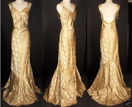 gold brocase 1930's dress