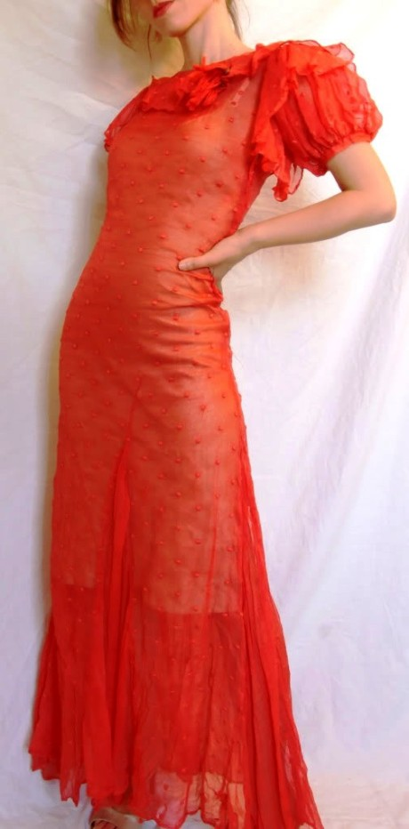 Vintage 1920s Fashion 30s Gatsby Red Coral Sheer Organza Dress