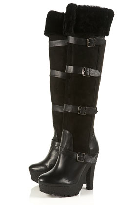 Topshop fur buckle over knee boots