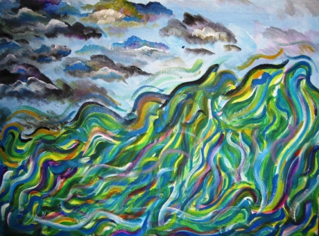 My painting of waves and sky