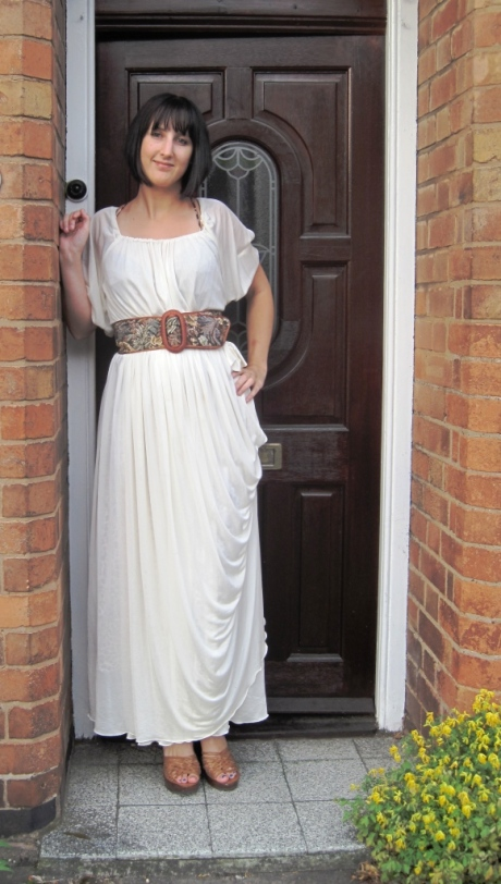 What I Wore Outfit Shot Grecian Vintage Dress